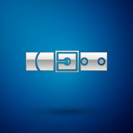 Silver Leather belt with buttoned steel buckle icon isolated on blue background. Vector Illustration