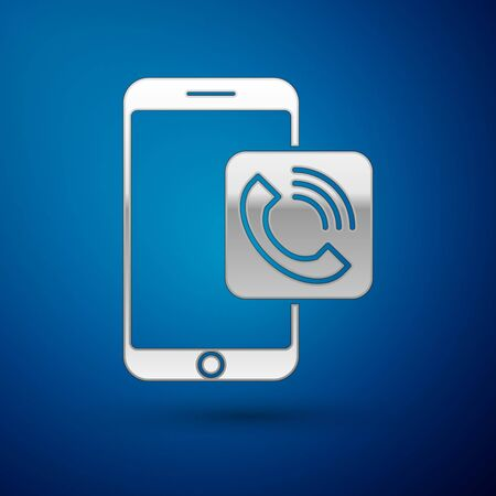 Silver Mobile phone call icon isolated on blue background. Vector Illustration Çizim