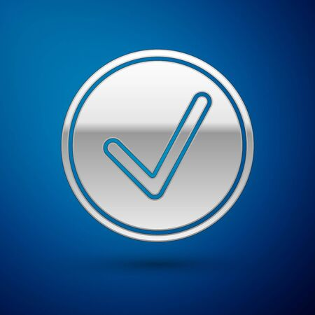 Silver Check mark in circle icon isolated on blue background. Choice button sign. Checkmark symbol. Vector Illustration