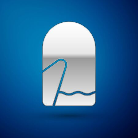 Silver Christmas mitten icon isolated on blue background. Vector Illustration