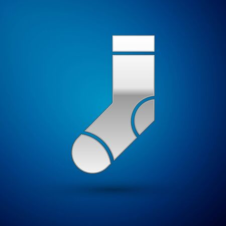 Silver Socks icon isolated on blue background. Vector Illustration