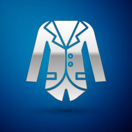 Silver Blazer or jacket icon isolated on blue background. Vector Illustration Ilustração
