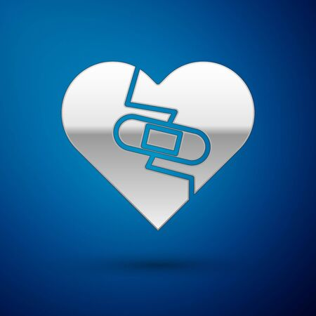 Silver Healed broken heart or divorce icon isolated on blue background. Shattered and patched heart. Love symbol. Valentines day. Vector Illustration