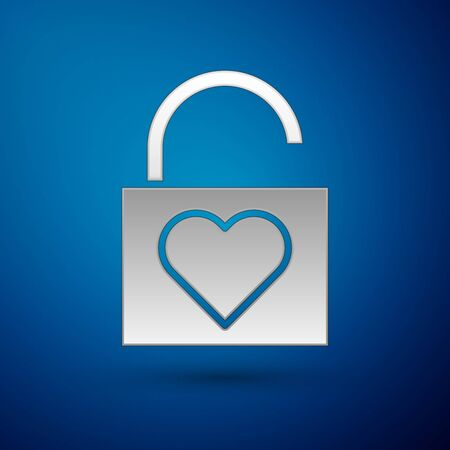 Silver Lock and heart icon isolated on blue background. Locked Heart. Love symbol and keyhole sign. Valentines day symbol. Vector Illustration