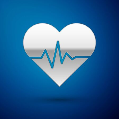 Silver Heart rate icon isolated on blue background. Heartbeat sign. Heart pulse icon. Cardiogram icon. Vector Illustration Ilustracja