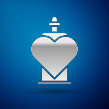 Silver Bottle with love potion icon isolated on blue background. Valentines day symbol. Vector Illustration