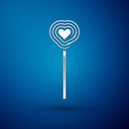 Silver Lollipop icon isolated on blue background. Candy sign. Food, delicious symbol. Valentines day. Love symbol. Vector Illustration Ilustrace