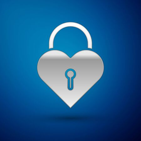 Silver Castle in the shape of a heart icon isolated on blue background. Locked Heart. Love symbol and keyhole sign. Vector Illustration Ilustração