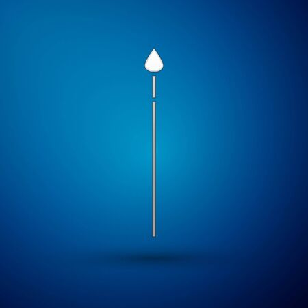 Silver Medieval spear icon isolated on blue background. Medieval weapon. Vector Illustration