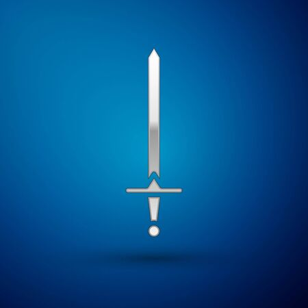 Silver Medieval sword icon isolated on blue background. Medieval weapon. Vector Illustration Ilustracja
