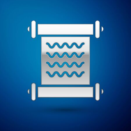 Silver Decree, paper, parchment, scroll icon icon isolated on blue background. Vector Illustration