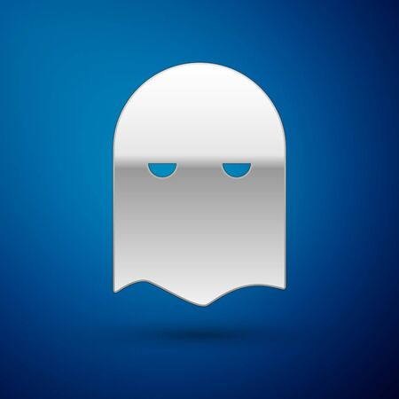 Silver Executioner mask icon isolated on blue background. Hangman, torturer, executor, tormentor, butcher, headsman icon. Vector Illustration