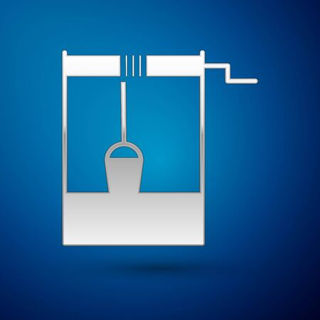 Silver Well with a bucket and drinking water icon isolated on blue background. Vector Illustration  イラスト・ベクター素材