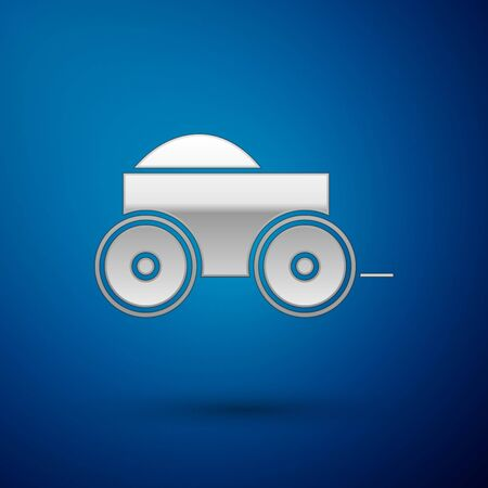 Silver Wooden four-wheel cart with hay icon isolated on blue background. Vector Illustration Ilustração