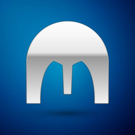 Silver Medieval iron helmet for head protection icon isolated on blue background. Vector Illustration