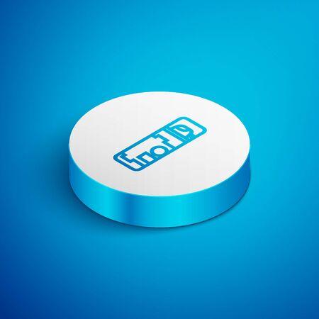 Isometric line Shaving gel foam icon isolated on blue background. Shaving cream. White circle button. Vector Illustration Stock fotó - 138391624