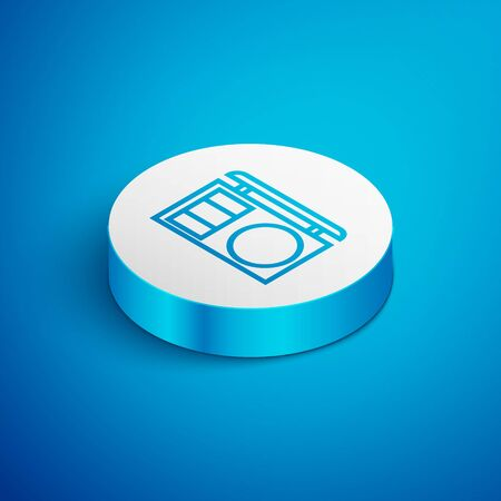 Isometric line Eye shadow palette with brush icon isolated on blue background. White circle button. Vector Illustration