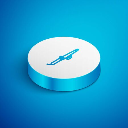 Isometric line Curling iron for hair icon isolated on blue background. Hair straightener icon. White circle button. Vector Illustration