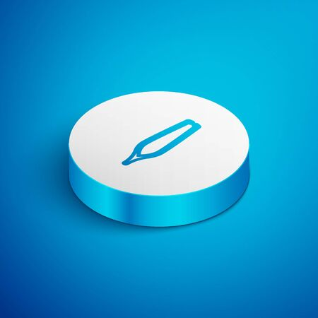 Isometric line Eyebrow tweezers icon isolated on blue background. Cosmetic tweezers for ingrown hair. White circle button. Vector Illustration