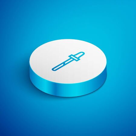 Isometric line Pipette icon isolated on blue background. Element of medical, cosmetic, chemistry lab equipment. White circle button. Vector Illustration