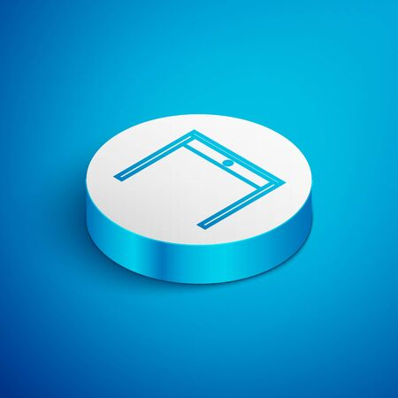 Isometric line Wooden table icon isolated on blue background. White circle button. Vector Illustration Archivio Fotografico - 138391688