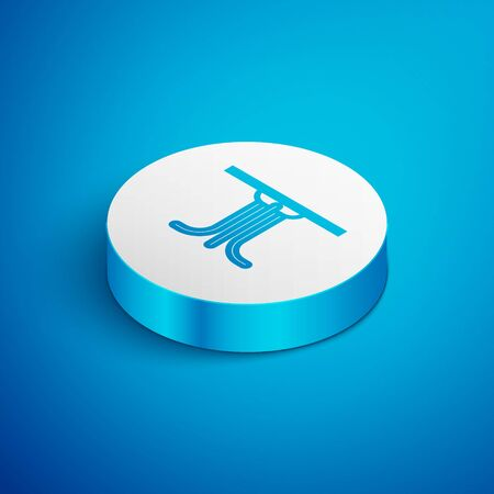 Isometric line Round table icon isolated on blue background. White circle button. Vector Illustration Archivio Fotografico - 138391761