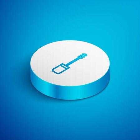 Isometric line Mascara brush icon isolated on blue background. White circle button. Vector Illustration