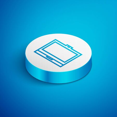 Isometric line Makeup powder with mirror icon isolated on blue background. White circle button. Vector Illustration Çizim