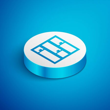 Isometric line Shelf icon isolated on blue background. Shelves sign. White circle button. Vector Illustration