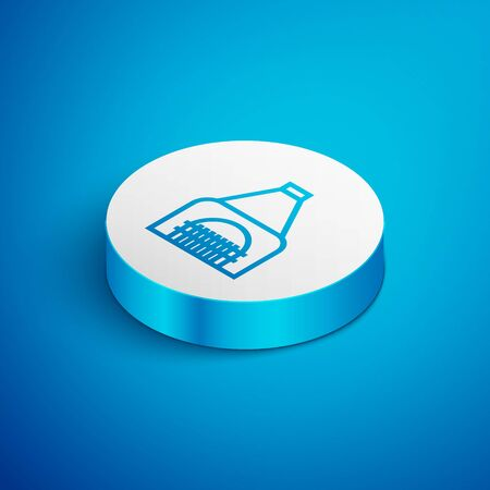 Isometric line Interior fireplace icon isolated on blue background. White circle button. Vector Illustration