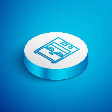 Isometric line Kitchen dishwasher machine icon isolated on blue background. White circle button. Vector Illustration Archivio Fotografico - 138391887