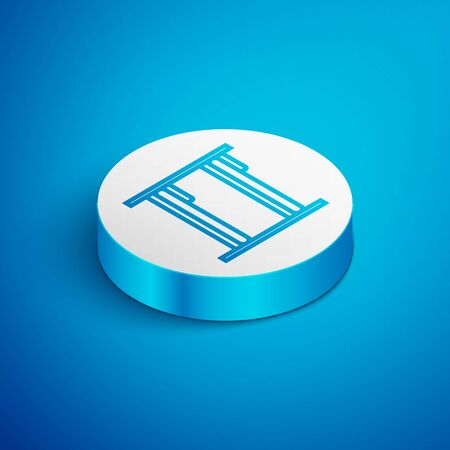 Isometric line Bunk bed icon isolated on blue background. White circle button. Vector Illustration Ilustração