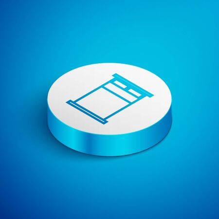 Isometric line Big bed for two or one person icon isolated on blue background. White circle button. Vector Illustration Ilustração