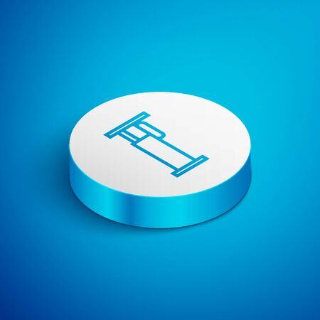 Isometric line Bed icon isolated on blue background. White circle button. Vector Illustration