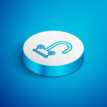 Isometric line Water tap icon isolated on blue background. White circle button. Vector Illustration Ilustrace