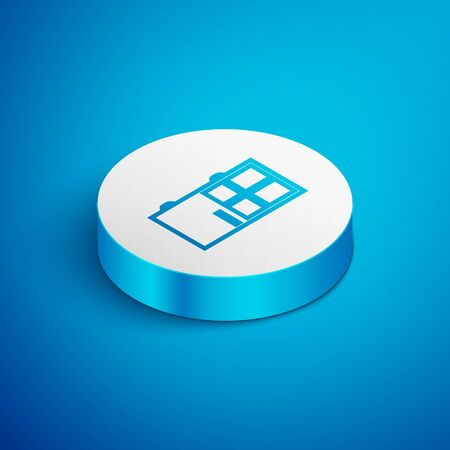 Isometric line Closed door icon isolated on blue background. White circle button. Vector Illustration Ilustração