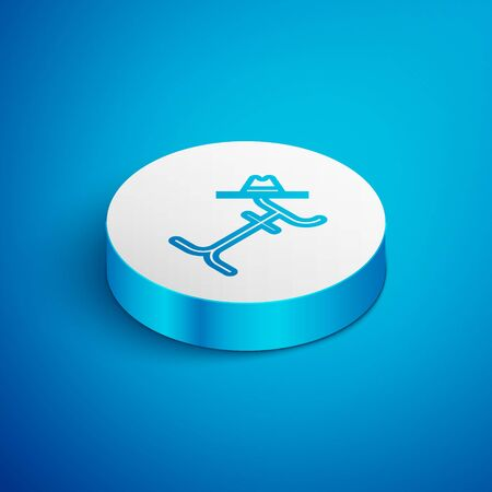 Isometric line Coat stand icon isolated on blue background. White circle button. Vector Illustration Ilustração