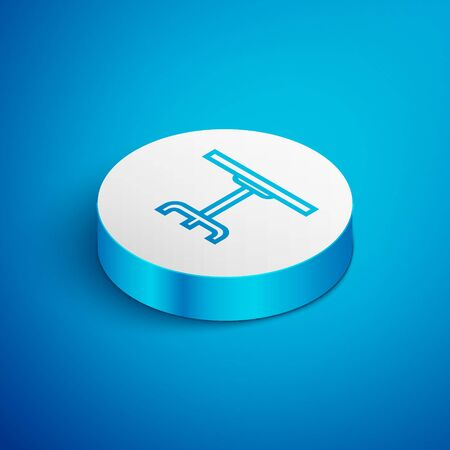 Isometric line Round table icon isolated on blue background. White circle button. Vector Illustration