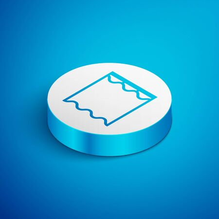 Isometric line Curtains icon isolated on blue background. White circle button. Vector Illustration Ilustração