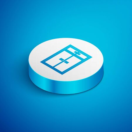 Isometric line Wardrobe icon isolated on blue background. White circle button. Vector Illustration