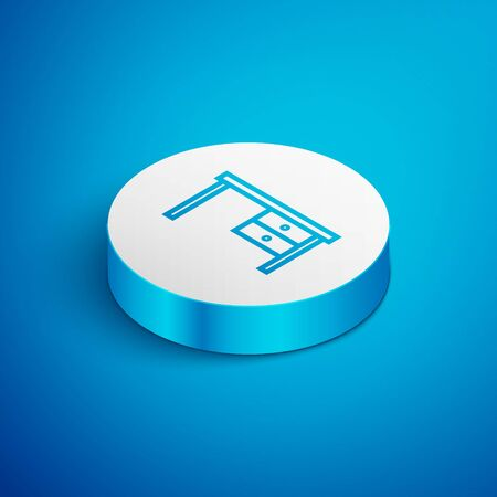 Isometric line Office desk icon isolated on blue background. White circle button. Vector Illustration Ilustração
