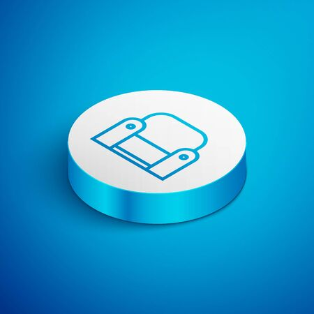 Isometric line Armchair icon isolated on blue background. White circle button. Vector Illustration
