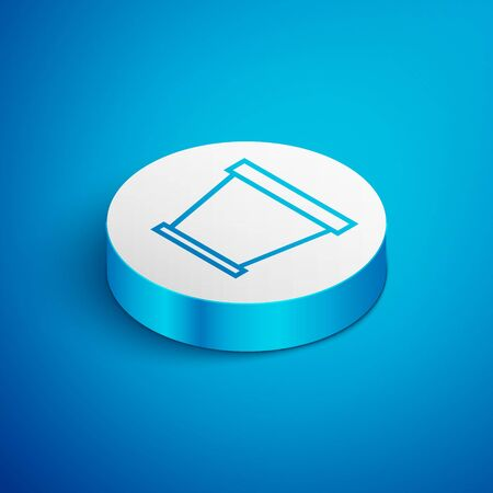 Isometric line Flower pot icon isolated on blue background. White circle button. Vector Illustration