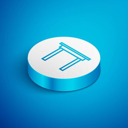 Isometric line Wooden table icon isolated on blue background. White circle button. Vector Illustration Ilustração