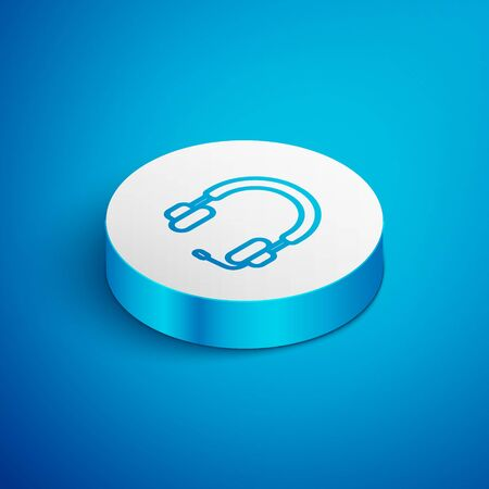 Isometric line Headphones icon isolated on blue background. Earphones. Concept for listening to music, service, communication and operator. White circle button. Vector Illustration