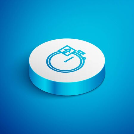 Isometric line Stopwatch icon isolated on blue background. Time timer sign. Chronometer sign. White circle button. Vector Illustration