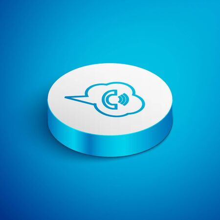 Isometric line Speech bubble with phone call icon isolated on blue background. White circle button. Vector Illustration Çizim