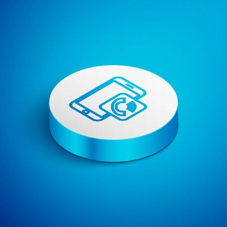 Isometric line Mobile phone call icon isolated on blue background. White circle button. Vector Illustration Çizim