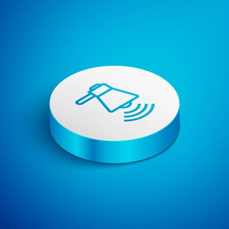 Isometric line Megaphone icon isolated on blue background. Loud speach alert concept. Bullhorn for Mouthpiece scream promotion. White circle button. Vector Illustration