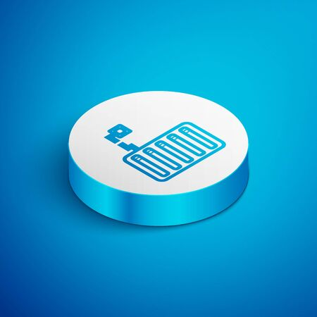 Isometric line Server icon isolated on blue background. Adjusting app, service concept, setting options, maintenance, repair, fixing. White circle button. Vector Illustration Ilustracja